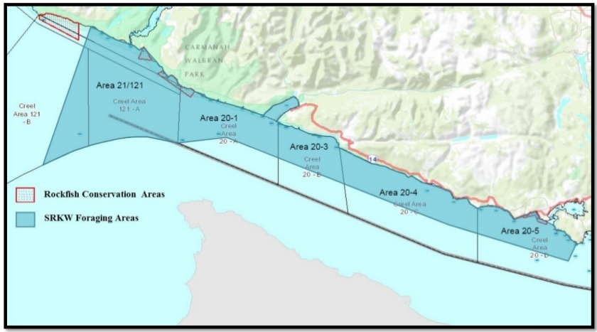 SRKW forage areas in JDF west of Sooke